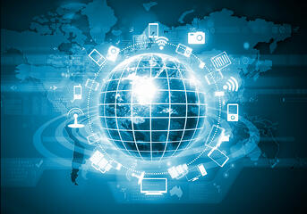 Digital image of globe with conceptual icons. Globalization concept. Elements of this image are furnished by NASA